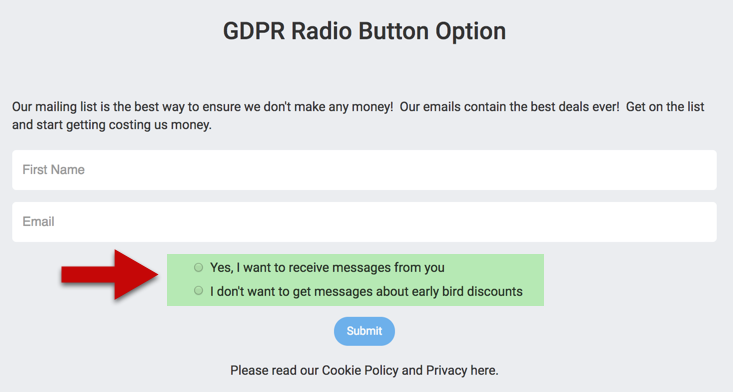 LeadsHook GDPR consent display radio button